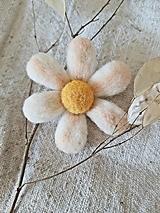 Brošne - Plstená brošňa kvietok biely - 13683346_
