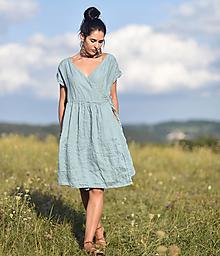 Šaty - Lněné šaty zavinovací Oceán - 13683396_