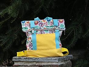 Batohy - Rolltop batoh M žltý folklórny vzor - 13686163_