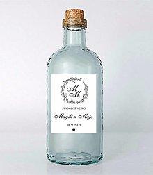 Papiernictvo - Nálepky na svadobné fľaše venček simple - 13687022_