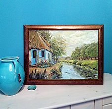 Obrazy - Old cottage by the river - 13687665_