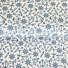 Textil - námornícka, 100 % predzrážaná bavlna Španielsko, digitálna tlač, šírka 150 cm - 13686124_