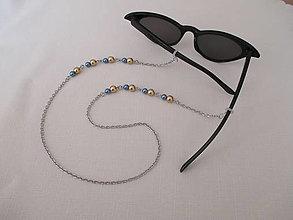 Iné šperky - Retiazka na okuliare - zlato/modrá - chirurgická oceľ - 13686039_