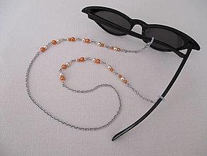 Iné šperky - Retiazka na okuliare - oranžovo/béžová - chirurgická oceľ - 13686106_