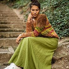 Sukne - Ľanová sukňa Alica zelená - 13689505_