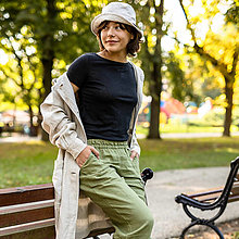 Nohavice - Ľanové nohavice Tara zelené - 13689506_