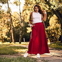 Sukne - Ľanová sukňa Alica červená - 13689510_