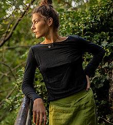 Tričká - Dámske ľanové tričko Šalvia čierna - 13689551_