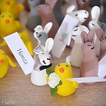 Darčeky pre svadobčanov - Zajačiky a kuriatka - svadobné menovky/darčeky - 13689483_