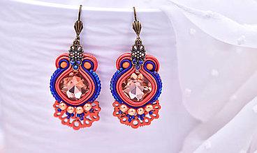 Náušnice - Fan soutache earrings/šujtášové náušnice - 13688524_