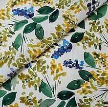 Textil - 100% ľan 150 g akvarelové kvety (ako materiál alebo šitie na želanie) - 13688994_