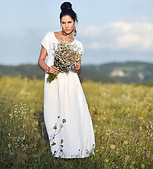 Šaty - Lněné maxišaty se zapínáním Bílé - 13690048_