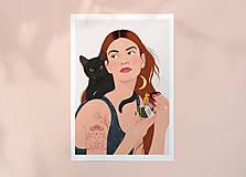 Grafika - Čarodějka - umělecký tisk - 13691658_