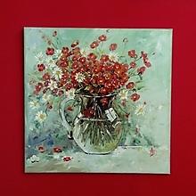 Obrazy - Kytička v sklenenom džbáne - 13692696_