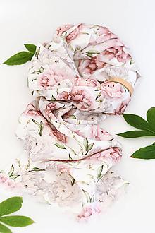 """Šatky - Romantická jemná ľanová šatka s kvetinovou potlačou """"Peony"""" s malým remienkom - 13692270_"""