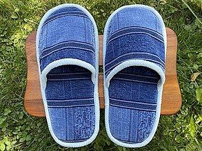 Ponožky, pančuchy, obuv - Veľké modré vzorované papuče - 13693092_