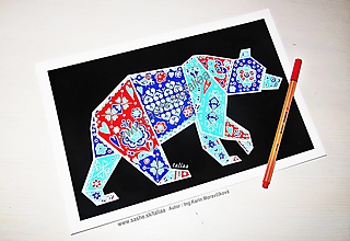 Kresby - Medveď ♥ Art Print 20 x 30 cm - 13692457_