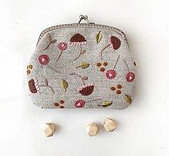 Peňaženky - Peňaženka XL Štylizované ružové kvety (s kapsičkami) - 13692191_