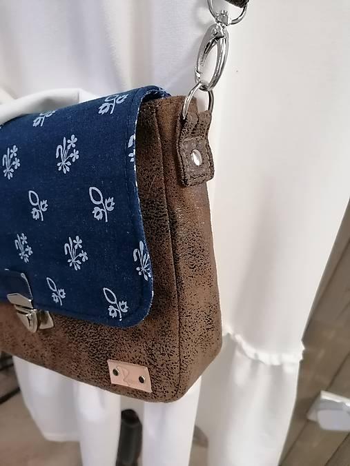 Modrotlačová kabelka Eliška hnedá vintage