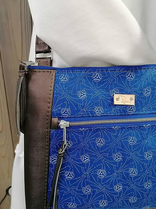 modrotlačová kabelka Xénia hnedá metalická 2