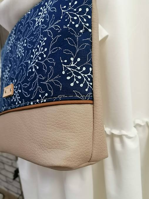 modrotlačová kabelka Soňa béžová