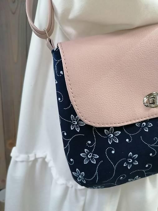 modrotlačová kabelka Ria ružovo- púdrová
