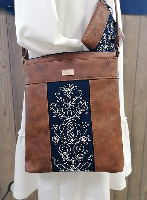 Modrotlačová kabelka Leona s taštičkou AM 1