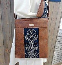 Kabelky - Modrotlačová kabelka Leona s taštičkou AM 1 - 13692466_