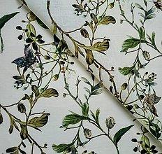 Textil - 100% ľan 150 g kvety a motýle (ako materiál alebo šitie na želanie) - 13692814_