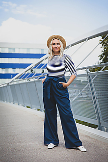 Nohavice - Maxi nohavice z bavlneného saténu s mašľou - 13691669_