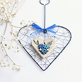 Dekorácie - Keramické srdiečko s modrými kvetmi....celé 18cm - 13695523_