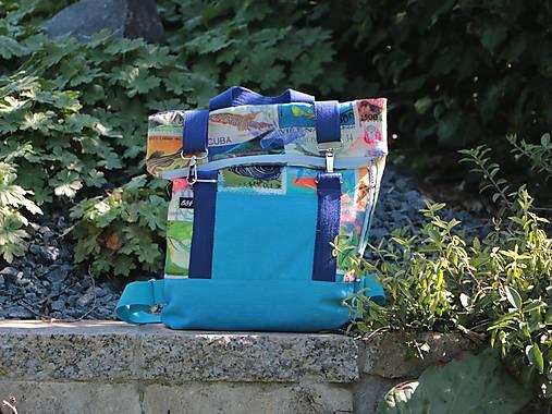 Rolltop batoh M známky z exotiky