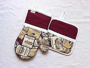Úžitkový textil - set rukavica+chňapka BORDEAUX - 13696678_