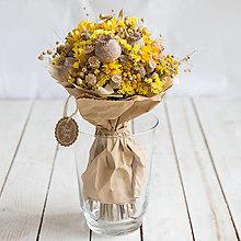 Dekorácie - Prírodná kytica zo sušených kvietkov ...slnečná... - 13695572_