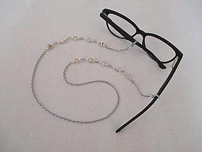 Iné šperky - Retiazka na okuliare - bielo/béžová - chirurgická oceľ - 13695146_