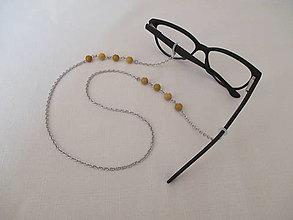 Iné šperky - Retiazka na okuliare - minerál - žltý mokait - chirurgická oceľ - 13695230_