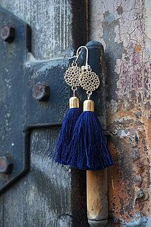 Náušnice - Strapcové náušnice - Modré polnočné - 13696388_