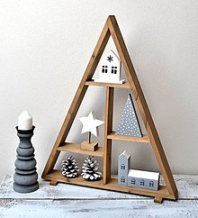 Dekorácie - Vianočný stromček-drevený s dekoráciami - 13698825_