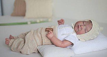 Detské oblečenie - Baby nohavice veľ. 68 - 74, béžový melír - 13697662_