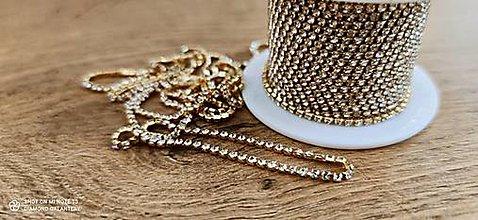 Komponenty - Štrasová borta 2 mm - cena za 10 centimetrov (Crystal na zlate) - 13696913_