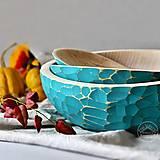 Nádoby - Set tyrkysových drevených zdobených mís  - 13699415_