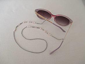 Iné doplnky - Retiazka na okuliare - ružovo/biela - chirurgická oceľ - 13697618_