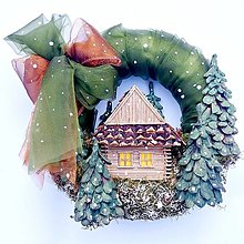 Dekorácie - Zasnežený venček-domček - 13697616_