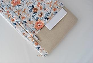 Papiernictvo - Obal na knihu zipsovací veľkosť M- BEŽOVÝ S KVETMI - 13700096_