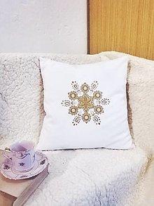 Úžitkový textil - Vianočná obliečka - zlatá vločka (pes, bavlna 40 x40) - 13699889_