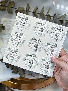 Papiernictvo - Nálepka Svadobná výslužka Zelené Lístky - 13702191_