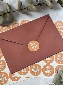 Papiernictvo - Nálepky Bude svadba oranžové - 20ks - 13702201_