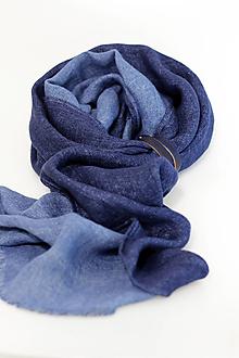 Doplnky - Pánsky tmavomodrý obojstranný hrejivý šál z exkluzívneho ľanu a vlny - 13700649_