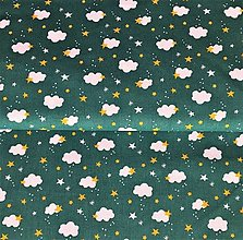 Tašky - zelené obláčiky, 100 % bavlna Francúzsko, šírka 140 cm - 13701159_