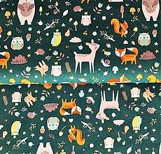 Tašky - tmavozelený les, 100 % bavlna Francúzsko, šírka 140 cm - 13701166_